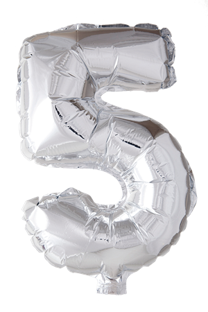 FOIL BALLOON NUMBER 5 SILVER 41 CM (6)