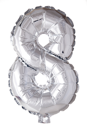 FOIL BALLOON NUMBER 8 SILVER 41 CM (6)