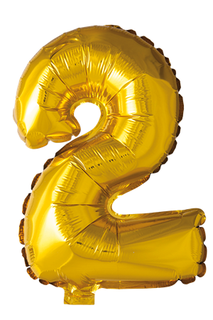 FOIL BALLOON NUMBER 2 GOLD 41 CM (6)