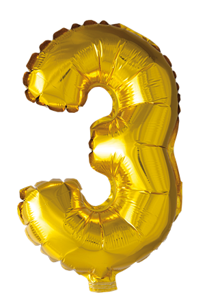 FOIL BALLOON NUMBER 3 GOLD 41 CM (6)