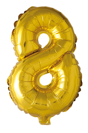 FOIL BALLOON NUMBER 8 GOLD 41 CM (6)