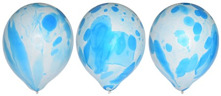 "BALLOONS 12"" MARBLE BLUE 6-PACK (6)"