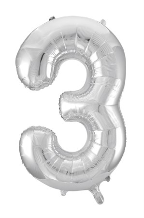 FOIL BALLOON NUMBER 3 SILVER 86 CM (6)