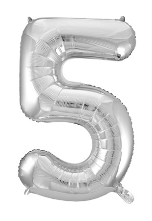 FOIL BALLOON NUMBER 5 SILVER 86 CM (6)
