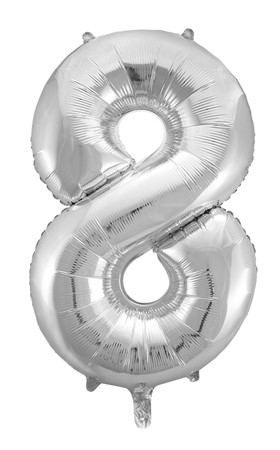 FOIL BALLOON NUMBER 8 SILVER 86 CM (6)