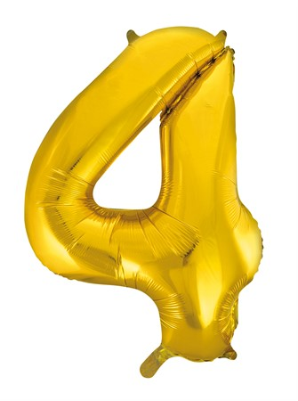 FOIL BALLOON NUMBER 4 GOLD 86 CM (6)