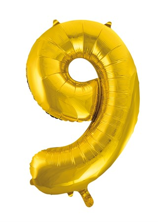 FOIL BALLOON NUMBER 9 GOLD 86 CM (6)