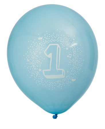 "BALLOONS 12"" BIRTHDAY 1 BLUE 6-P (6)"