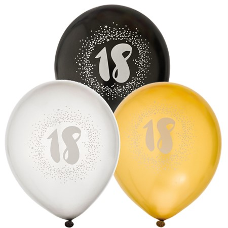 "BALLOONS 12"" 18TH BIRTHDAY 6-P (6)"