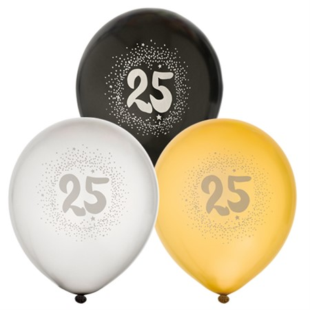 "BALLOONS 12"" 25TH BIRTHDAY 6-P (6)"