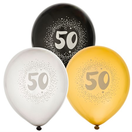 "BALLOONS 12"" 50TH BIRTHDAY 6-P (6)"