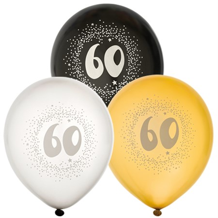 "BALLOONS 12"" 60TH BIRTHDAY 6-P (6)"