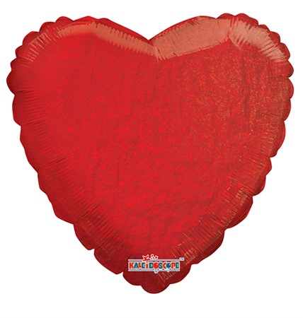 FOIL BALLOON HOLOGRAPHIC HEART RED 56 CM (6)