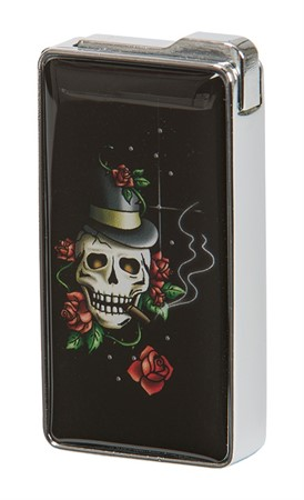 LIGHTER  SKULL WITH ROSE