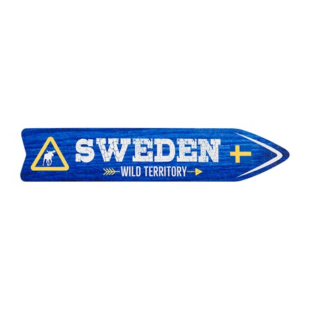 SOUVENIR SIGN SWEDEN WILD TERRITORY BLUE