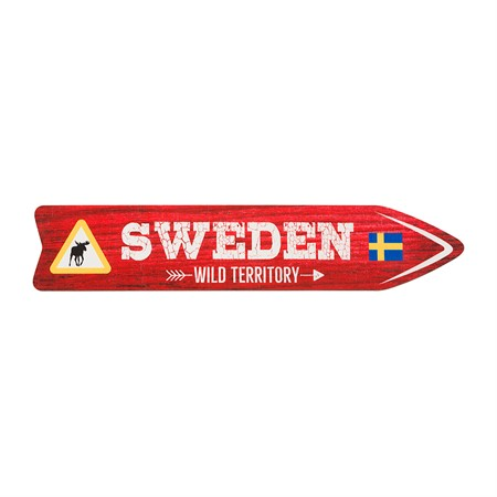SOUVENIR SIGN SWEDEN WILD TERRITORY RED