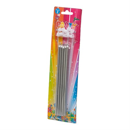 BIRTHDAY CANDLES LONG SILVER 10-P (6)