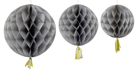 HONEYCOMB BALL WITH TASSEL GREY 3-P (3)