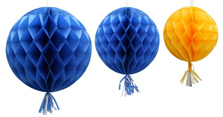HONEYCOMB BALL WITH TASSEL SWEDEN 3-P