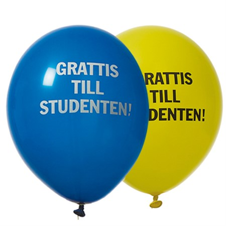 "BALLOONS 12"" STUDENT BLUE/YELLOW 8-P (6)"
