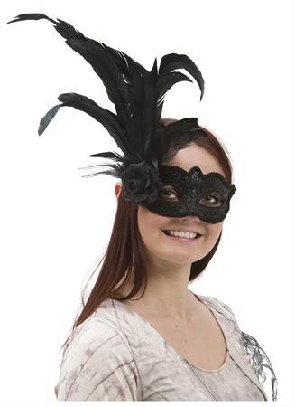 VENETIAN EYE MASK W SIDE FEATHER FLOWER BLACK