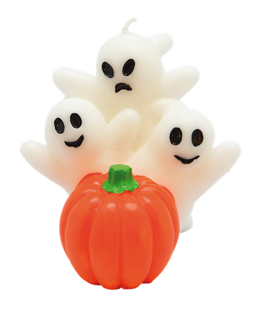 CANDLE GHOST W. PUMPKIN (12)