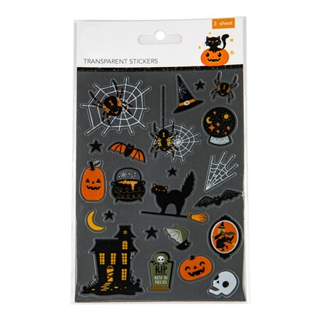 HALLOWEEN TRANSPARENT STICKERS 3-SHEETS (6)